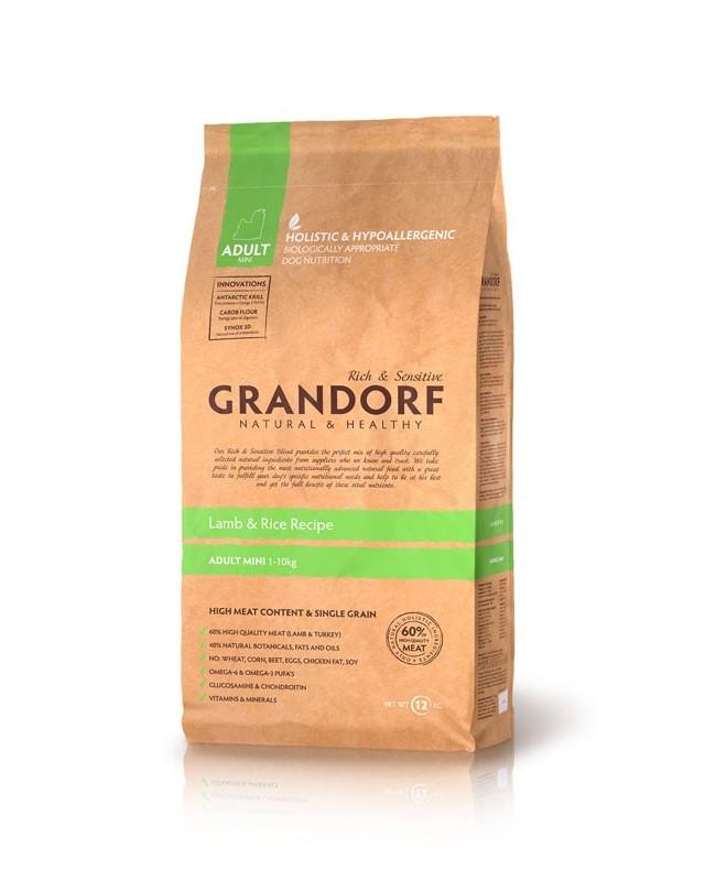 Сухой корм GRANDORF - ягненок с рисом для взрослых собак мини пород
